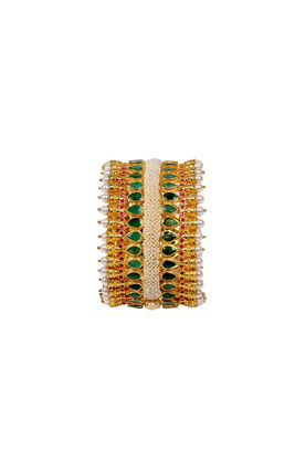 EMERALD RUBY STONE BROAD CUFF