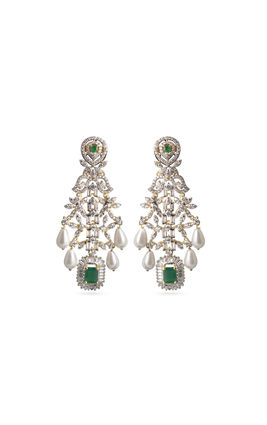 White pearl drop and green onyx stone CZ Earrings