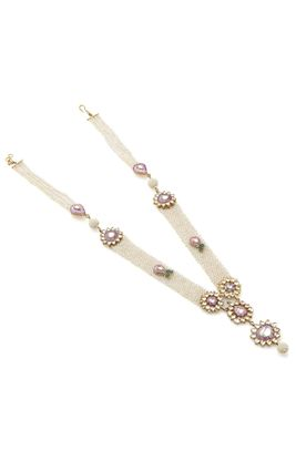 WHITE KUNDAN PINK ENAMEL BIKANERI NECKLACE SET WITH PEARL GUTHANI