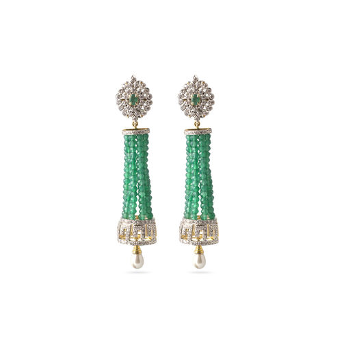 Green onyx beads CZ earrings