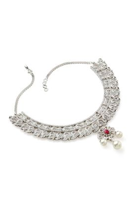 RUBY STONE CZ DIAMOND NECKLACE SET