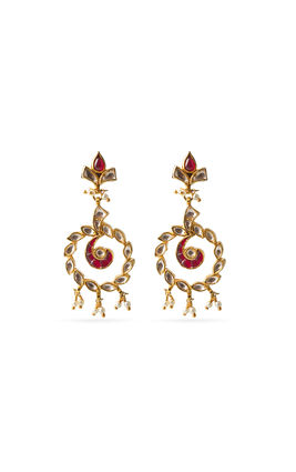 RED & WHITE KUNDAN EARRINGS