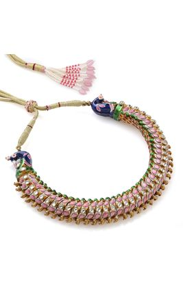 WHITE KUNDAN PINK GREEN ENAMEL BIKANERI NECKLACE SET