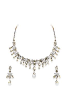 EMERALD STONE CZ DIAMOND NECKLACE SET