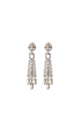 White pearl drops CZ earrings