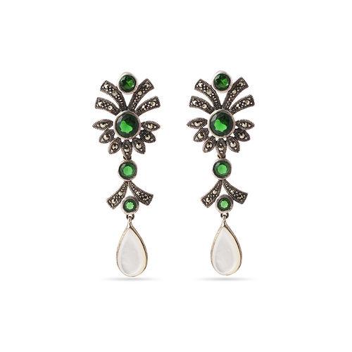 Green stone marca earrings