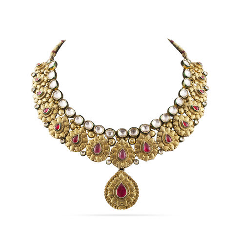 RED WHITE KUNDAN ANTIQUE NECKLACE SET