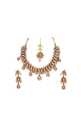 WHITE KUNDAN BIKANERI NECKLACE SET