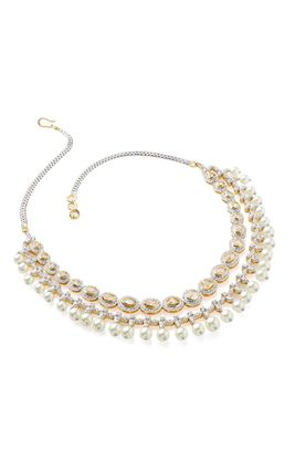 POLKI STONE CZ DIAMOND 2 LINE WITH PEARL NECKLACE SET