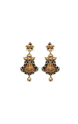 WHITE KUNDAN BLUE ENAMEL EARRINGS