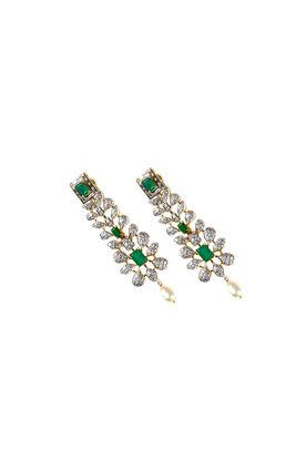 GREEN ONYX CZ DIAMOND EARRINGS
