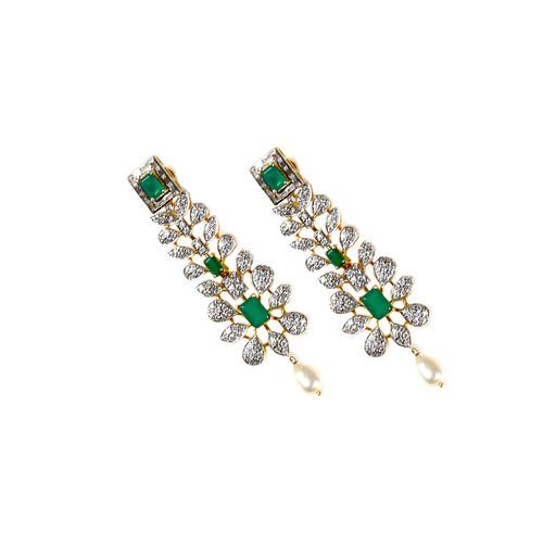 GREEN ONYX CZ DIAMOND EARRINGS