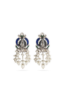MULTI KUNDAN CHAND PEACOCK AASHNA LONG EARRINGS