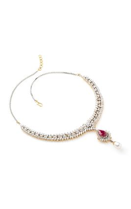 RUBY STONE CZ DIAMOND MARQUISE NECKLACE SET