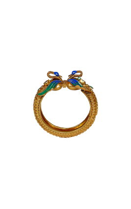 BLUE & GREEN ENAMEL WHITE KUNDAN PEACOCK KADA