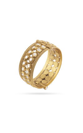 WHITE KUNDAN 2 LINE BROAD BANGLE