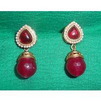 Pretty earrings in red-KEG084