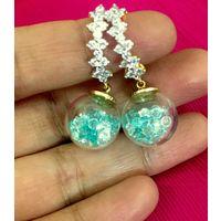 Glass, crystal & Diamond earrings-EG096