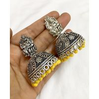Temple jhumkis in silver finish - ME084