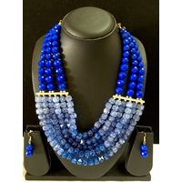 Beaded necklace in blue-MD057