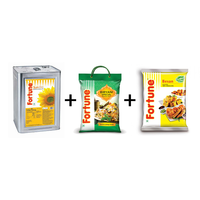 Combo of Sunflower Oil 15 lt tin+ Biryani Special Rice 5 kg+ Besan 1 kg pouch