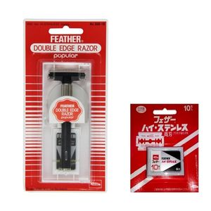 ORIGINAL FEATHER DOUBLE EDGE RAZOR POPULAR with 10 Blades - Made in Japan