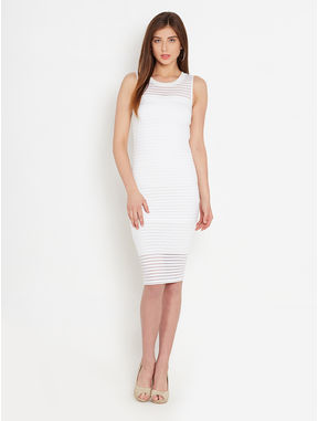 White Self-Stripe Bodycon Dress, xl, white