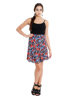 Printed Blue skater skirt, m, rayon, blue