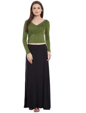 Black Maxi Skirt, black, l