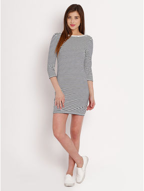 Striped Jersey Dress, l, white