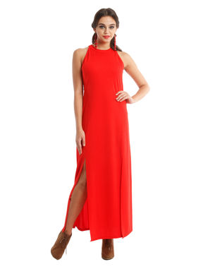 Strechable Red maxi dress with side splits, m, polyester, red
