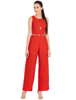 Red Tailored Jumpsuit with Gold Belt, m, red