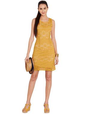 Mustard Lace Sheath Dress, m, mustard