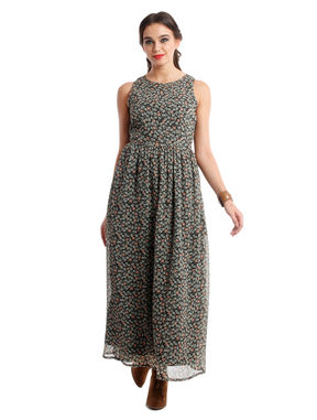 Dense floral maxi dress in chiffon, s, chiffon, black