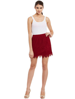 Red Lace Skirt With Elasticated Waist, red, xl