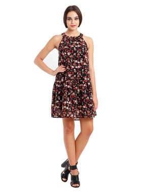 Drop-waist floral dress, s, georgette, multi