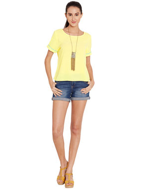 Yellow Top with Contrast Color Piping, xl, yellow