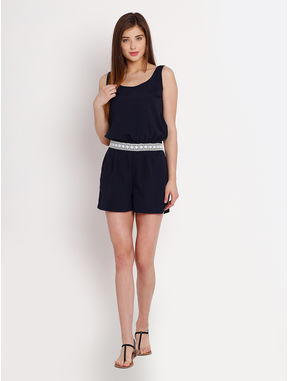 Navy Jumpsuit with Lace detail, l, navy