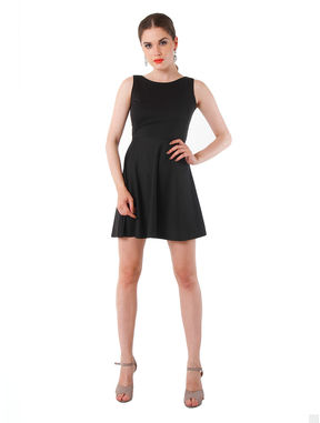 Cut-out Back Textured Black Dress, m, black