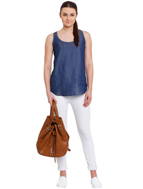 Sleeveless Denim Top, blue, xl