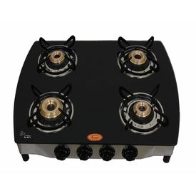 Surya Four Burner Black Auto Ignition Gas Stove in Curve Shape