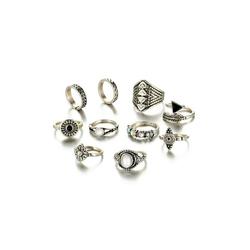 Fashion Leaf Stone Midi Ring