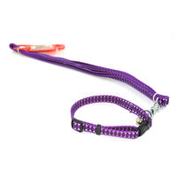 Easypets CASUAL Adjustable small Pet dog leash with collar (Small) (Purple)