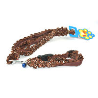 Easypets CASUAL Adjustable small Pet cat leash with collar fancy (Brown)