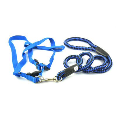 Easypets TRUECHOCIE Adjustable Braided Round Rope Dog Leash (Large) (Blue)