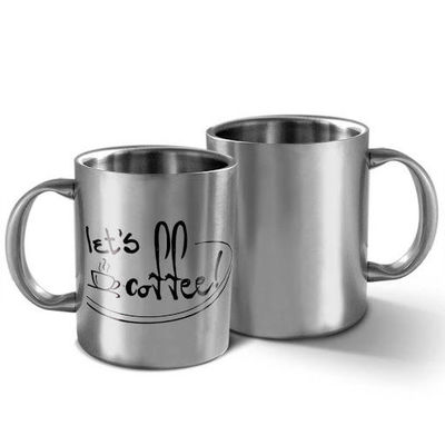 DUMMY-Hot Muggs Let s Coffee - Message Mug, silver