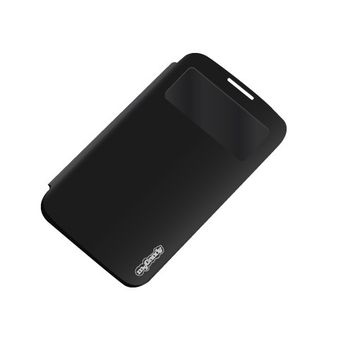 MYCANDY BOOK TYPE BATTERY DOOR CASE LED INFO DISPLAY FEATURE FOR SAMSUNG S4 SNG,  black