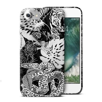 JUST CAVALLI IPHONE 7 / IPHONE 8 TPU BACK CASE LEO TATTOO,  white