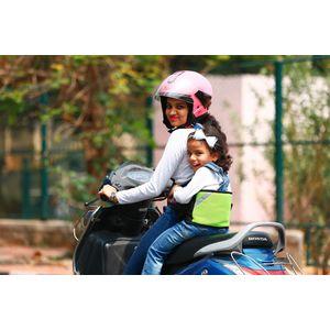 KID SAFE BELT - Two Wheeler Child Safety Belt - World's 1st Trusted & Leading (Sport Parrot Green), green
