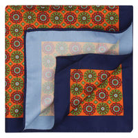 Orange/Blue Foulard Pattern Pocket Square